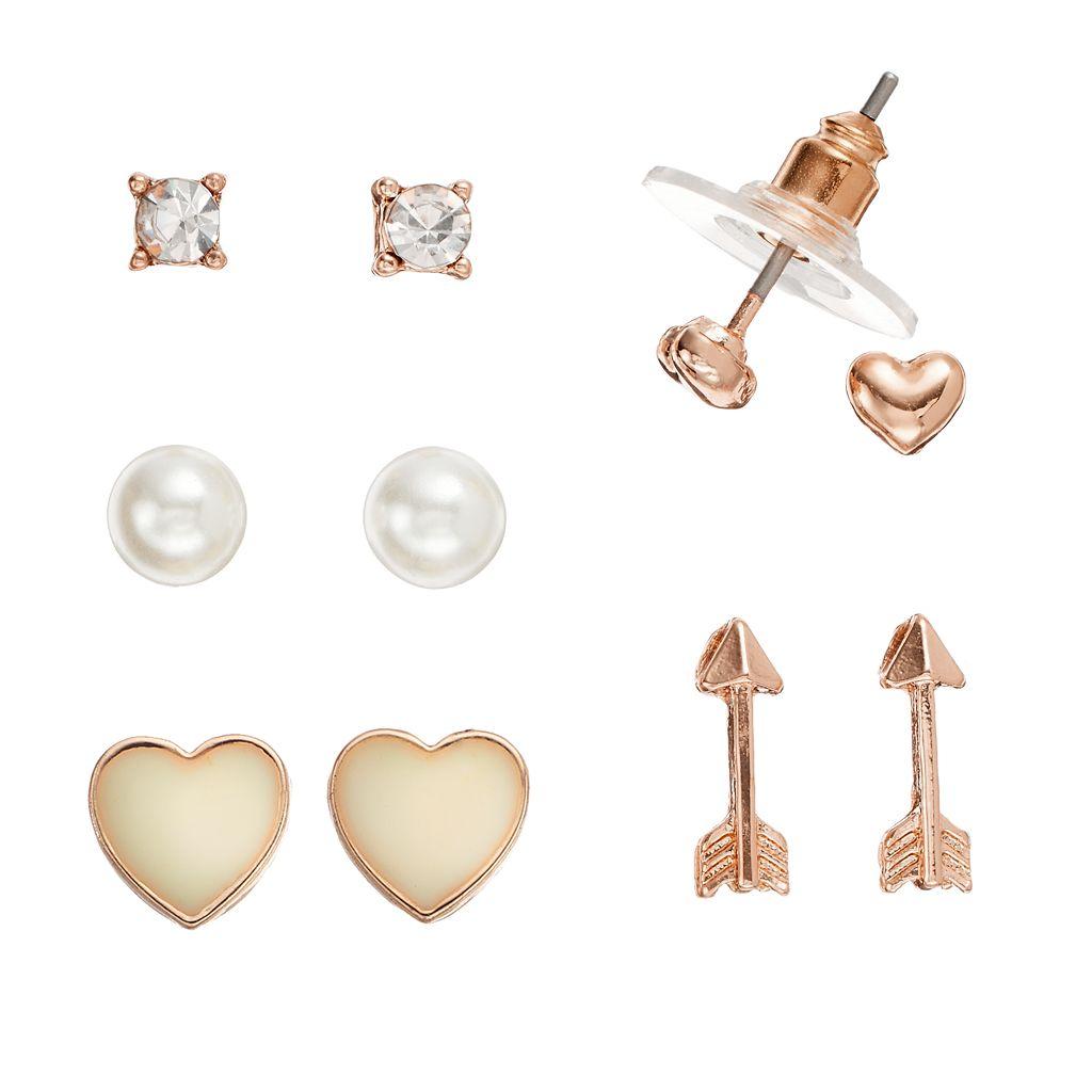 LC Lauren Conrad Arrow & Heart Stud Earring Set