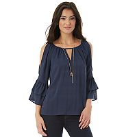 Juniors' IZ Byer California Woven Bell Sleeve Top
