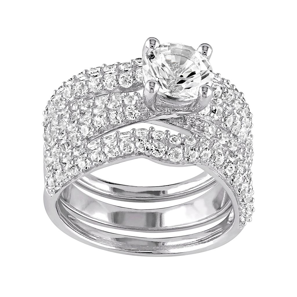 Sterling Silver Lab-Created White Sapphire Ring Set