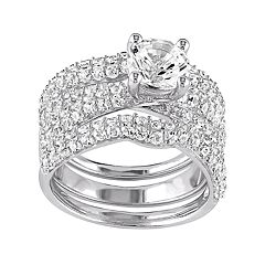 Stella Grace Sterling Silver Lab-Created White Sapphire Ring Set