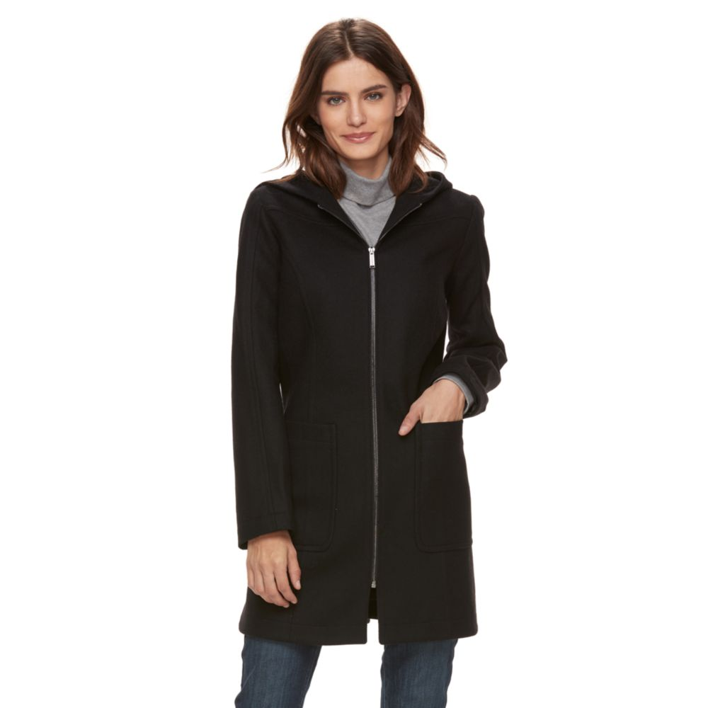 TOWER by London Fog Hooded Wool Blend Coat