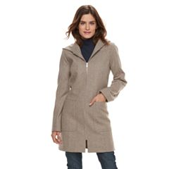 Women's TOWER by London Fog Hooded Wool Blend Coat