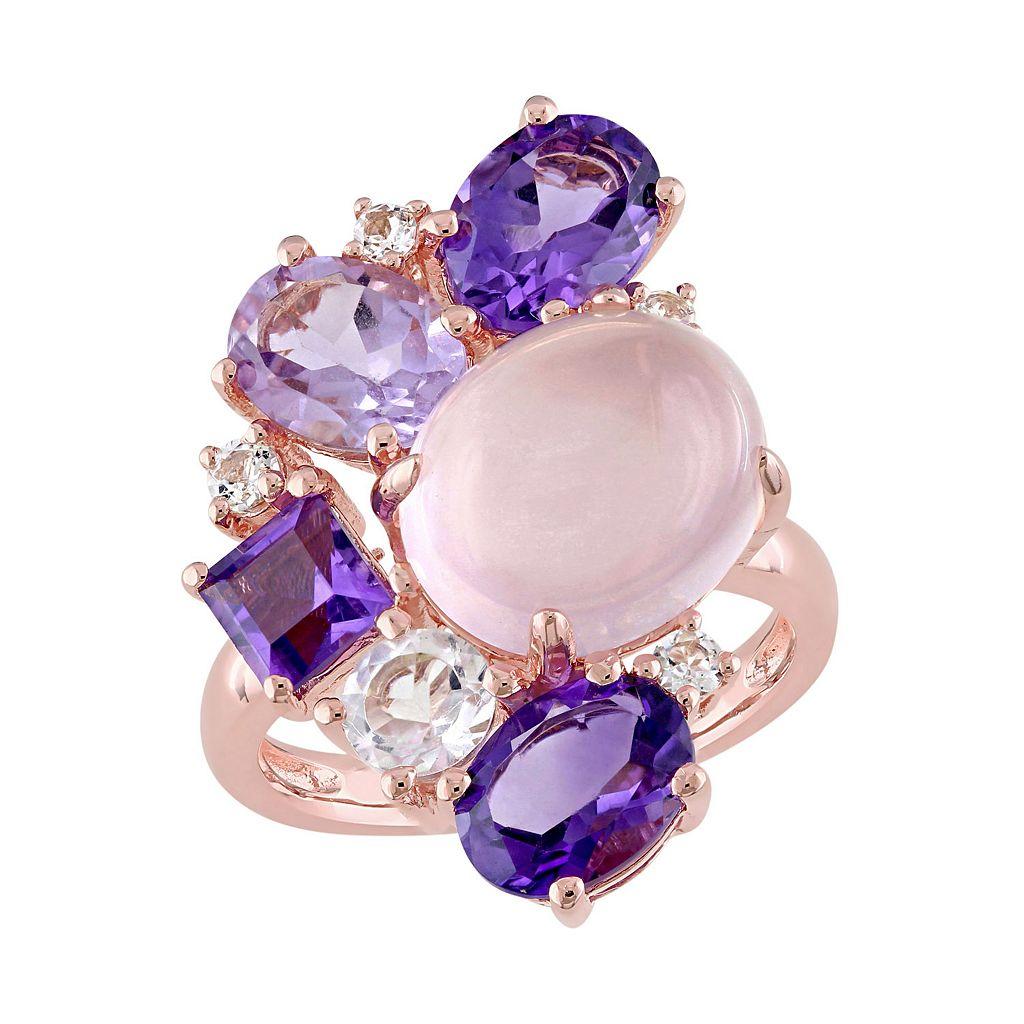 Sterling Silver Rose Quartz & Gemstone Cluster Ring