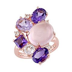 Sterling Silver Rose Quartz & Gemstone Cluster Ring