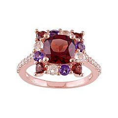 Sterling Silver Garnet & Gemstone Square Ring