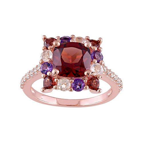 Sterling Silver Garnet & Gemstone Square Ring