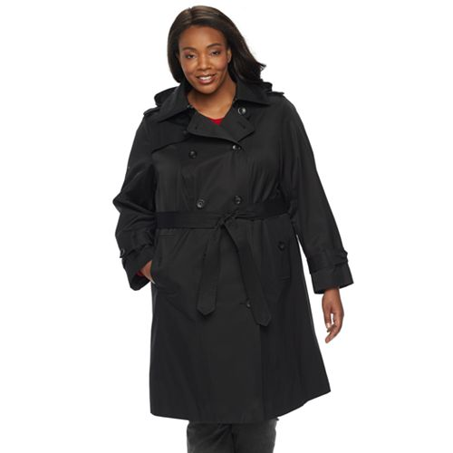 6021bd5d97a Plus Size TOWER by London Fog Hooded Trench Coat