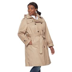 Plus Size TOWER by London Fog Hooded Trench Coat