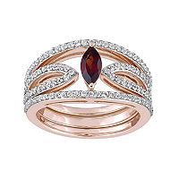 Sterling Silver Garnet & White Topaz Openwork Ring Set