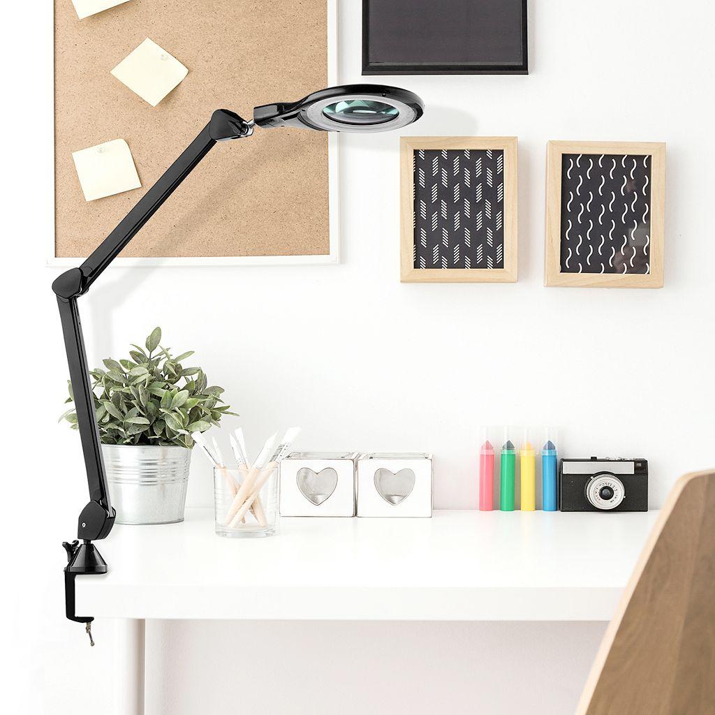 Catalina Lighting Tensor Clip-On Magnifier LED Desk Lamp
