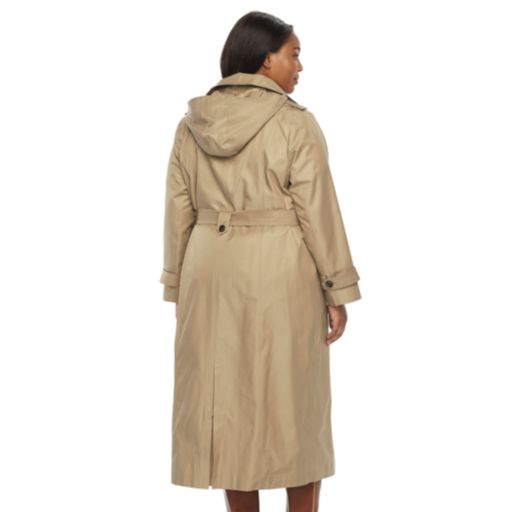 Plus Size TOWER by London Fog Hooded Solid Trench Coat