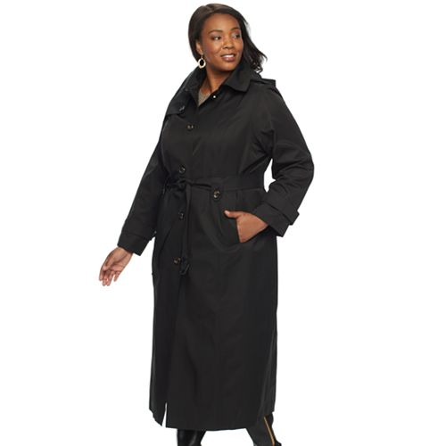 a0a0d916ce2 Plus Size TOWER by London Fog Hooded Solid Trench Coat