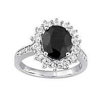Sterling Silver Black Sapphire & Lab-Created White Sapphire Halo Ring