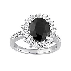 Stella Grace Sterling Silver Black Sapphire & Lab-Created White Sapphire Halo Ring