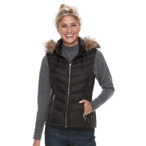 Women's FOG by London Fog Faux-Fur Trim Down Puffer Vest
