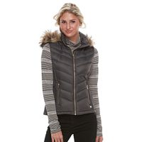 Women's FOG by London Fog Faux-Fur Trim Down Puffer Vest