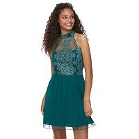 Juniors' Speechless Lace Ladder Back Party Dress