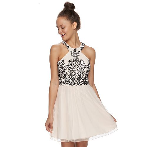 Juniors' Speechless Beaded Tulle Skater Dress