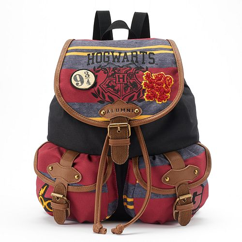 Harry Potter Hogwarts Crest & Embroidered Patches Drawstring Backpack