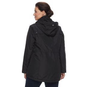 Plus Size Weathercast Hooded Plush-Lined Anorak