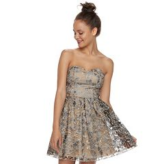 Juniors' Speechless Floral Sweetheart Party Dress