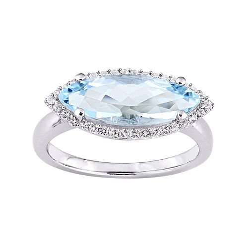 Sterling Silver Blue & White Topaz Marquise Ring