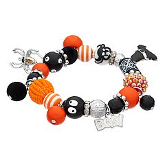'Boo!,' Spider & Witch's Hat Charm Beaded Stretch Bracelet