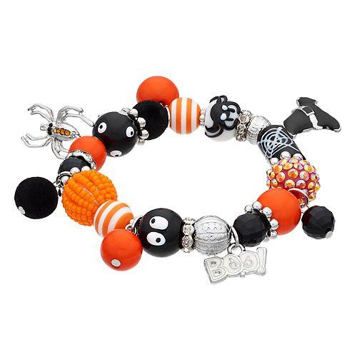 """Boo!,"" Spider & Witch's Hat Charm Beaded Stretch Bracelet"