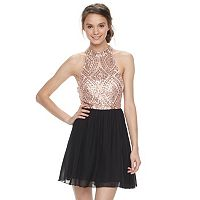 Juniors' Speechless Sequin Halter Skater Dress