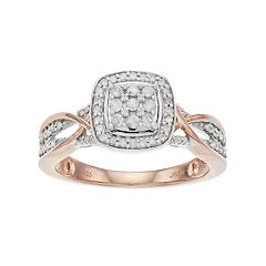 Always Yours Two Tone Sterling Silver 1/3 Carat T.W. Diamond Cluster Engagement Ring