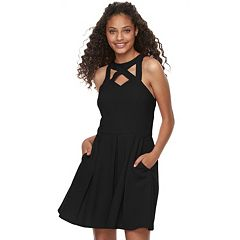 Juniors' Speechless Cutout Fit & Flare Dress