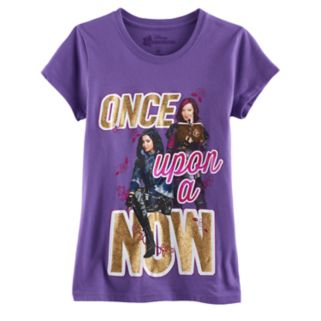 """Disney's Descendants Evie & Mal Girls 7-16 """"Once Upon a Now"""" Glitter Graphic Tee"""