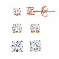 PRIMROSE Tri Tone Sterling Silver Cubic Zirconia Stud Earring Set