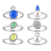 Sterling Silver Gemstone & Freshwater Cultured Pearl Ring Set