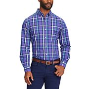 Big & Tall Chaps Regular-Fit Plaid Stretch Button-Down Shirt