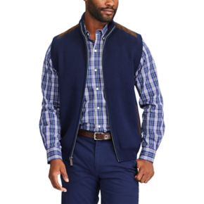Big & Tall Chaps Classic-Fit Suede-Trim Sweater Vest
