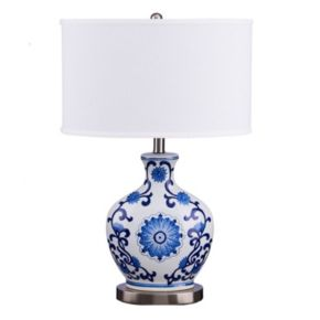 Catalina Lighting Floral Ceramic Table Lamp