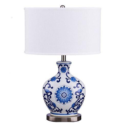 Catalina Lighting Floral Ceramic Table Lamp