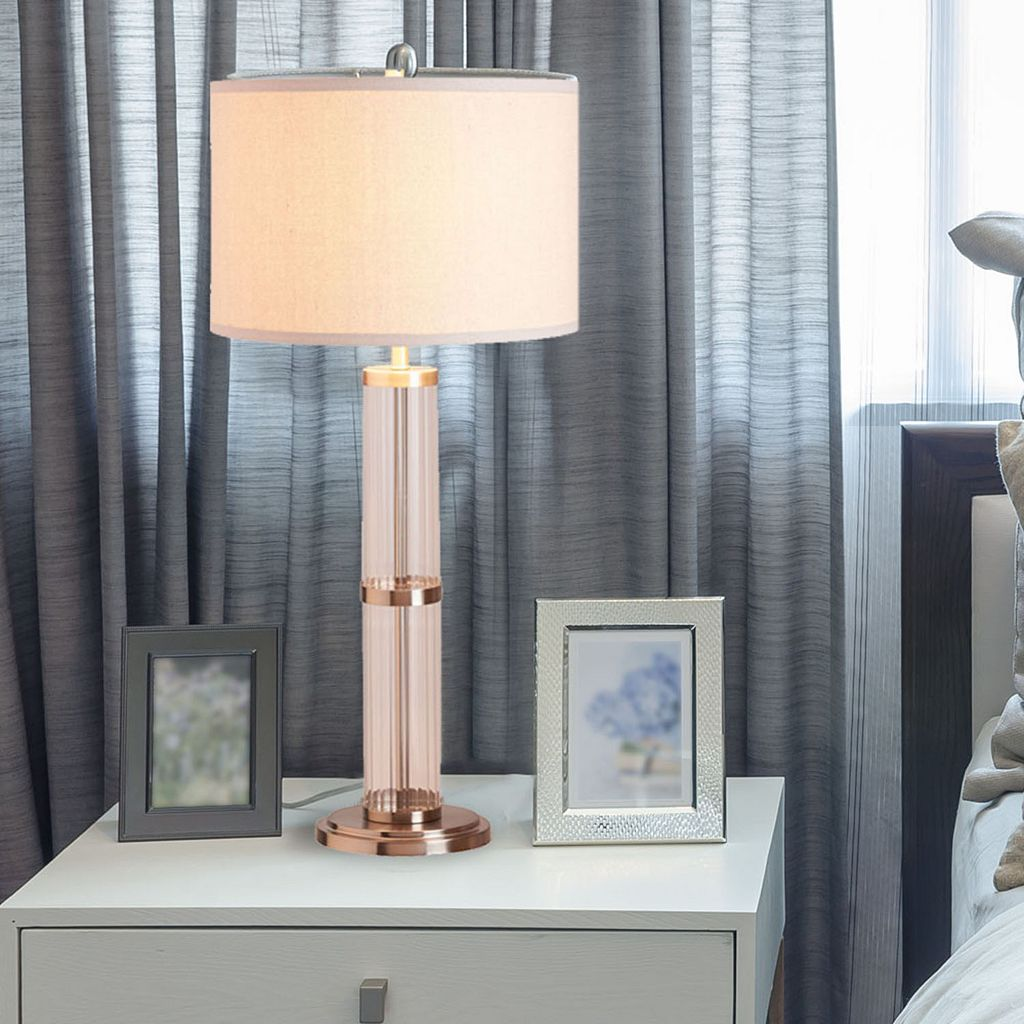 Catalina Lighting Ribbed Glass Table Lamp