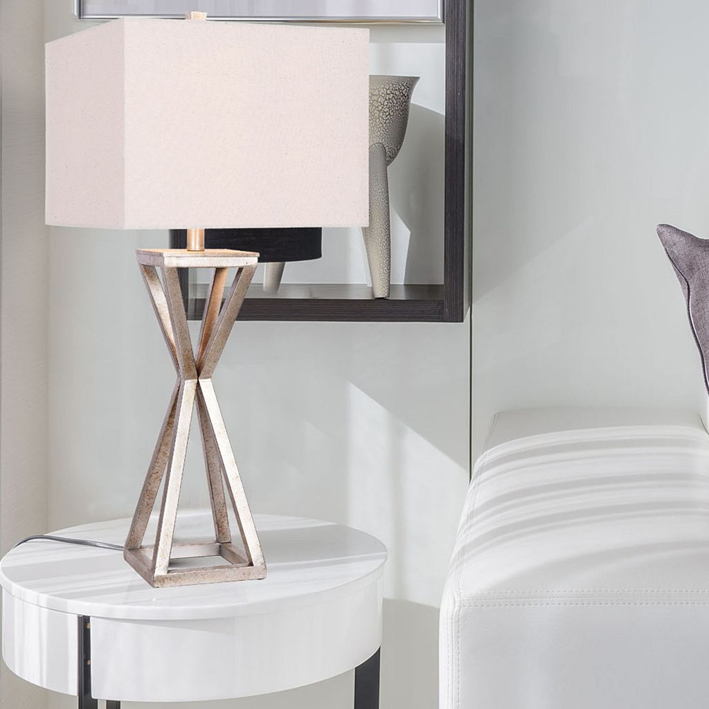 Catalina Lighting Pewter Finish Geometric Table Lamp