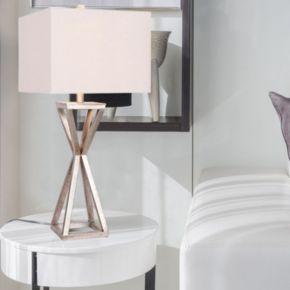 Catalina Lighting Pewter Finish Geometric Table Lamp
