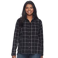Juniors' Plus Size SO® Pocket Plaid Flannel Shirt