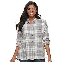 Juniors' Plus Size SO® Pocket Plaid Flannel Shirt