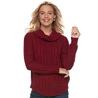 Juniors' It's Our Time Cowlneck Cable-Knit Tunic