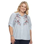Plus Size Croft & Barrow® Embroidered Button-Up Shirt