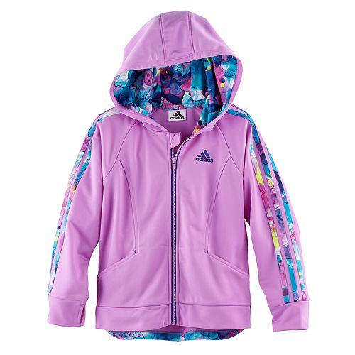 b61f0dc08a2b Girls 4-6x adidas Hooded Tricot Lightweight Jacket