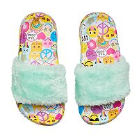 Girls 4-16 Emoji Slide Sandals