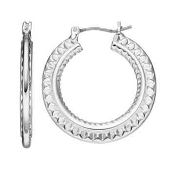 Napier Textured Flat Hoop Earrings