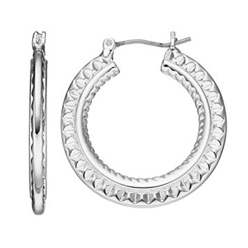 Napier Textured Flat Hoop Earrings