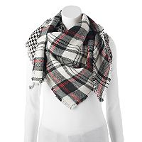Candie's® Leopard Print, Plaid & Houndstooth Patchwork Triangle Scarf
